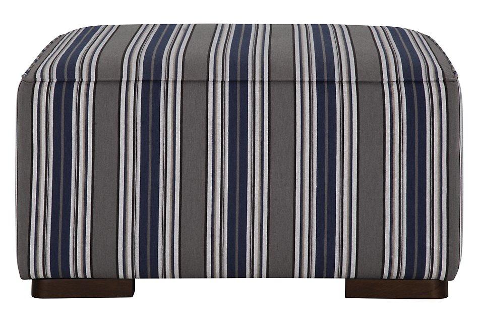 Amuse Blue Stripe Accent Ottoman