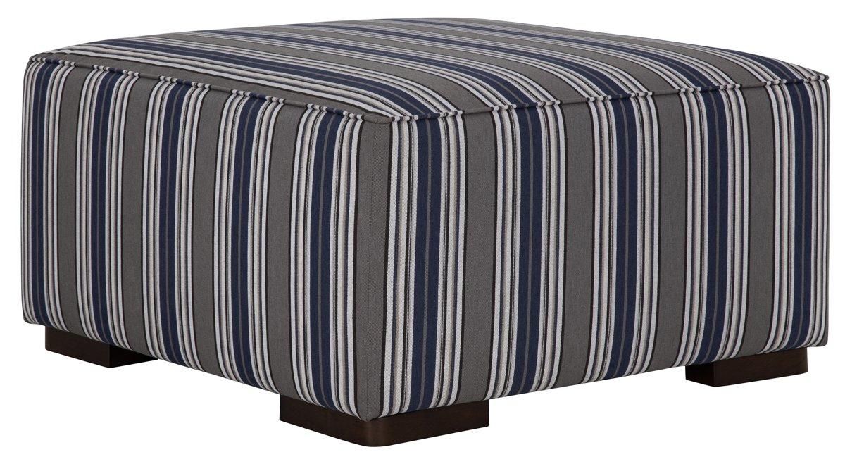Amuse Blue Fabric Accent Ottoman