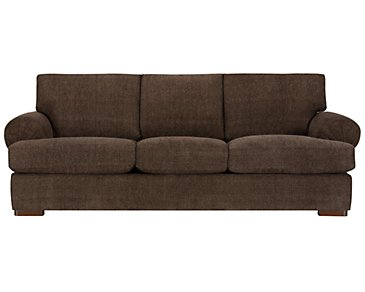 Belair Dark Brown Fabric Sofa
