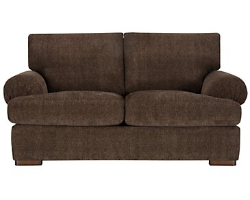 Belair Dark Brown Fabric Loveseat