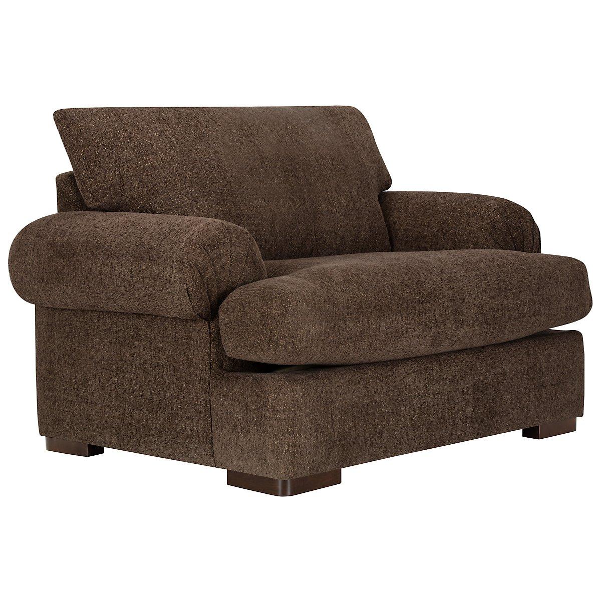 Belair Dark Brown Fabric Large Chair