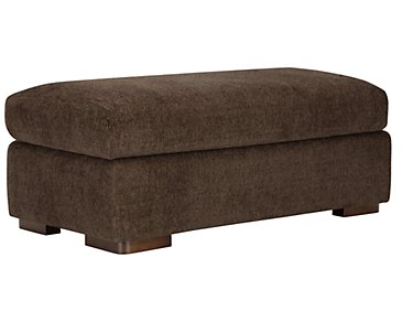 Belair Dark Brown Fabric Large Ottoman