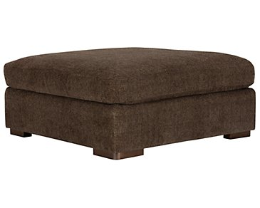 Belair Dark Brown Fabric Cocktail Ottoman