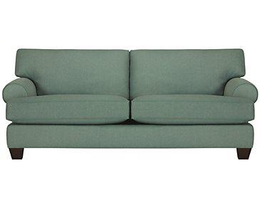 Quinn Teal Fabric Sofa