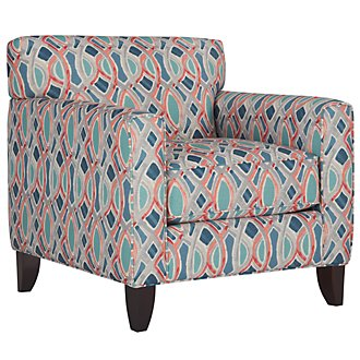 Whiplash Blue Fabric Accent Chair