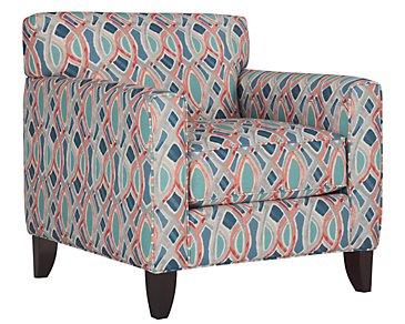 Whiplash Blue Fabric Accent Chair