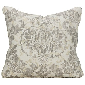 Flora Gray Fabric Square Accent Pillow