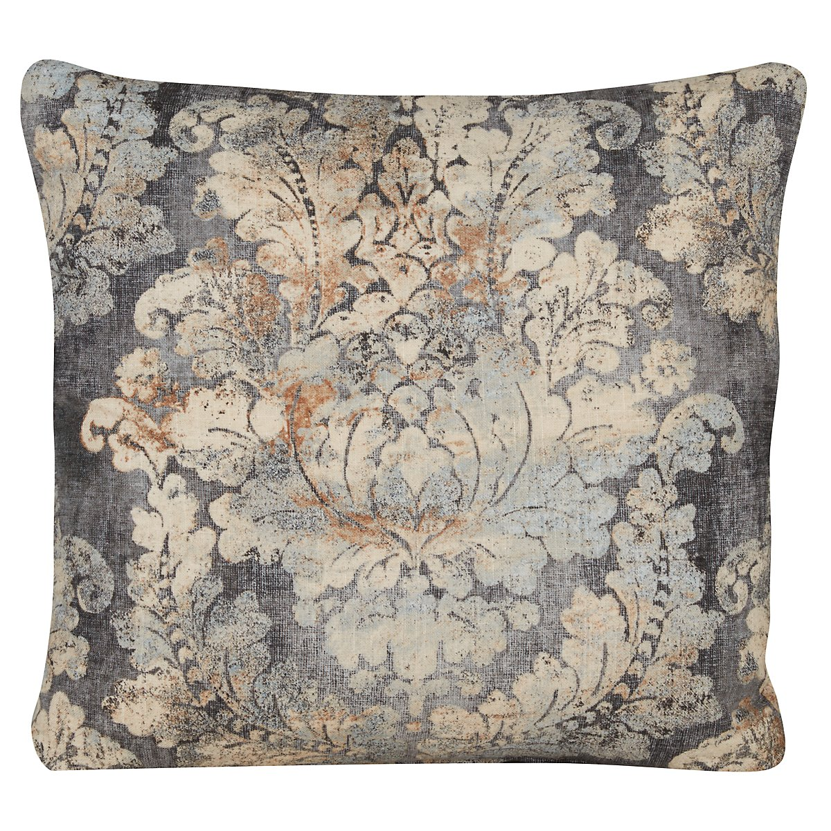 Firenza Gray Fabric Square Accent Pillow