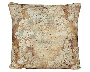 Firenza Brown Fabric Square Accent Pillow