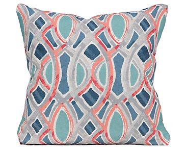 Whiplash Blue Fabric Square Accent Pillow