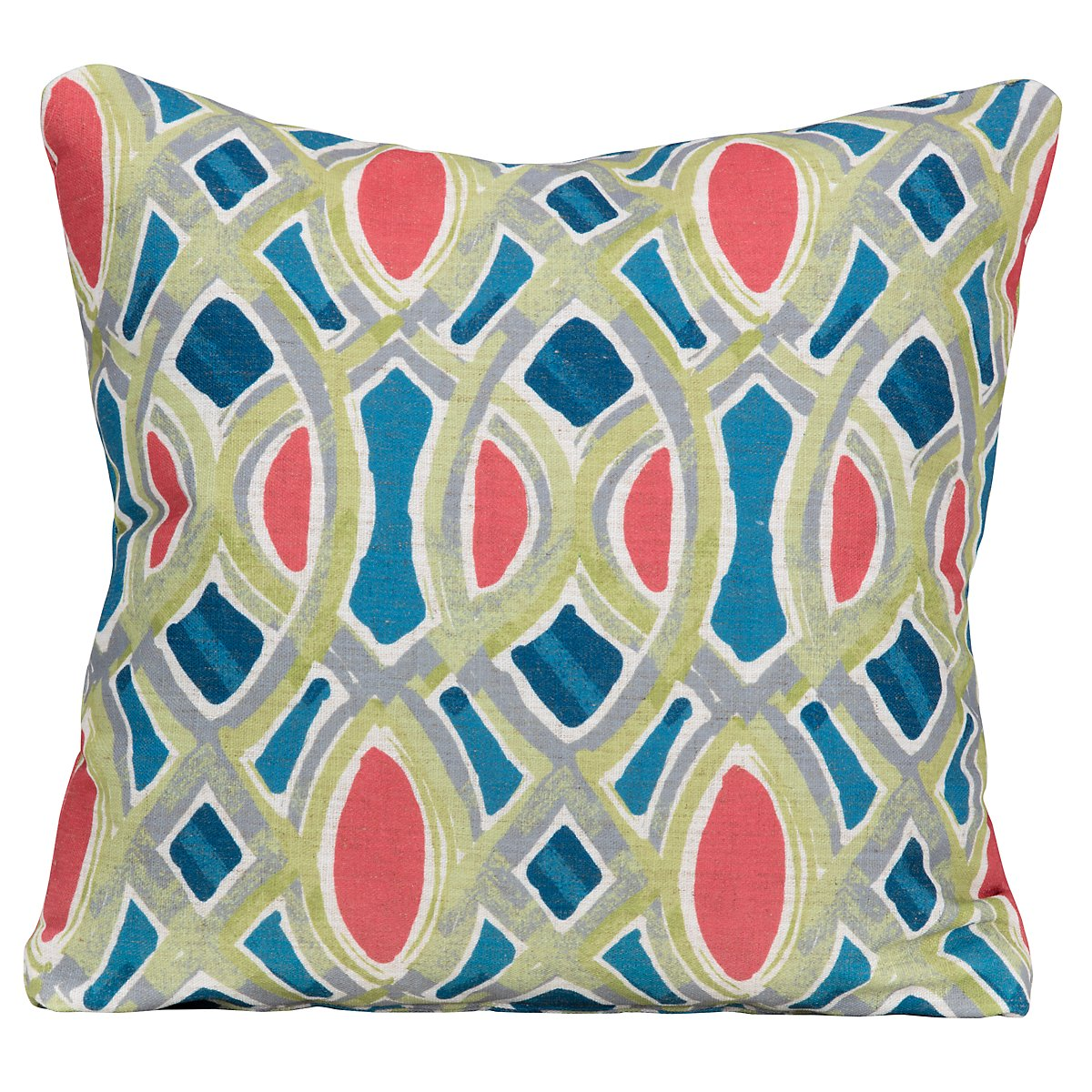 Whiplash Coral Fabric Square Accent Pillow