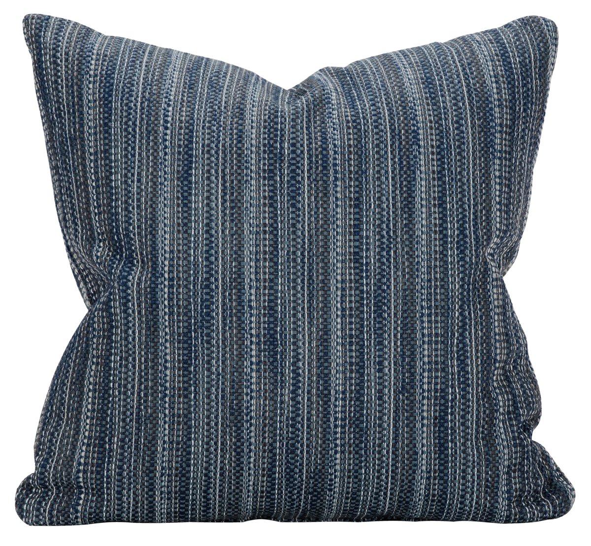 Brisbane Dark Blue Fabric Square Accent Pillow