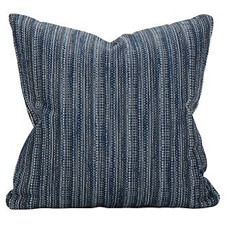 Brisbane Dark Blue Fabric Square Accent Pillow