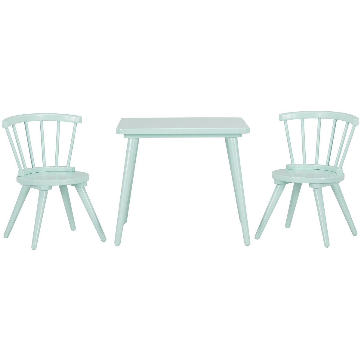 Windsor Light Blue Wood Table & 2 Chairs