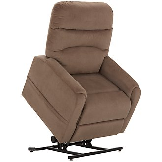 Ruby Light Brown Fabric Power Lift Recliner
