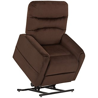 Ruby Dark Brown Fabric Power Lift Recliner
