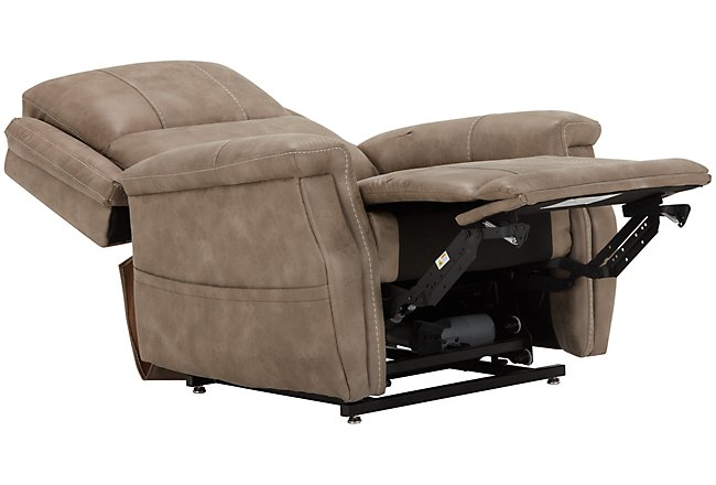 Jude Dark Taupe Microfiber Power Lift Recliner