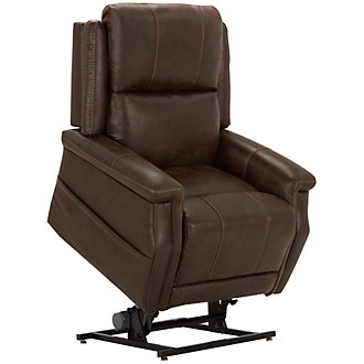 Jude Dark Brown Microfiber Power Lift Recliner