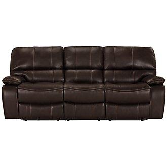 James Dark Brown Microfiber Reclining Sofa