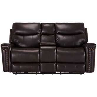 Wallace Dark Brown Microfiber Power Reclining Console Loveseat
