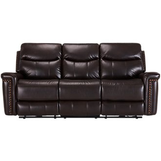Wallace Dark Brown Microfiber Reclining Sofa