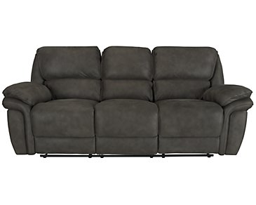 Kirsten Dark Gray Microfiber Power Reclining Sofa