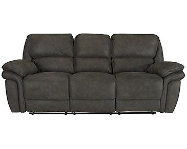 Kirsten Dark Gray Microfiber Power Reclining Sofa