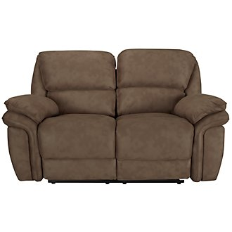 Kirsten Medium Brown Microfiber Power Reclining Loveseat