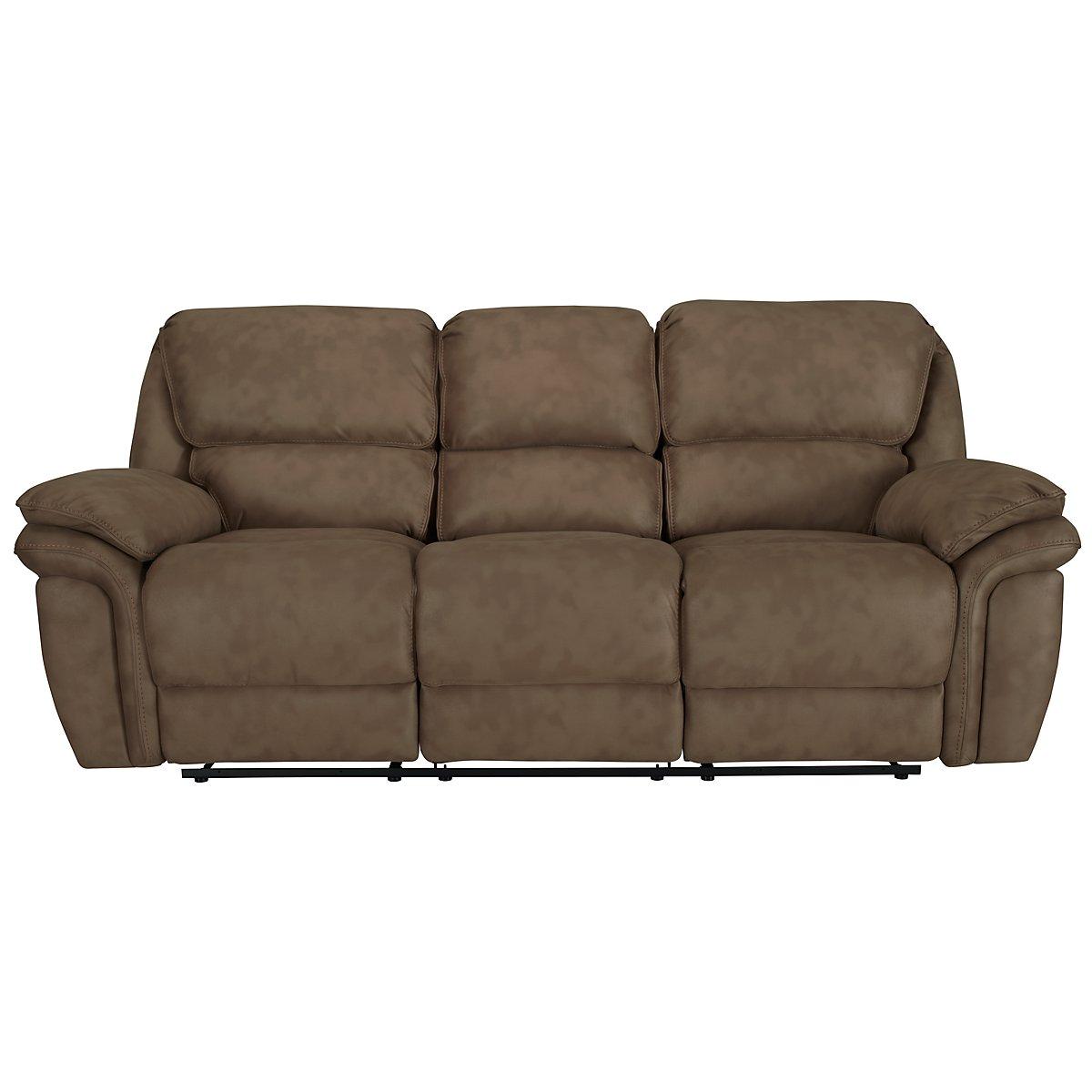 Kirsten Medium Brown Microfiber Reclining Sofa