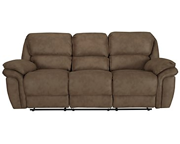 Kirsten Medium Brown Microfiber Reclining Sofa