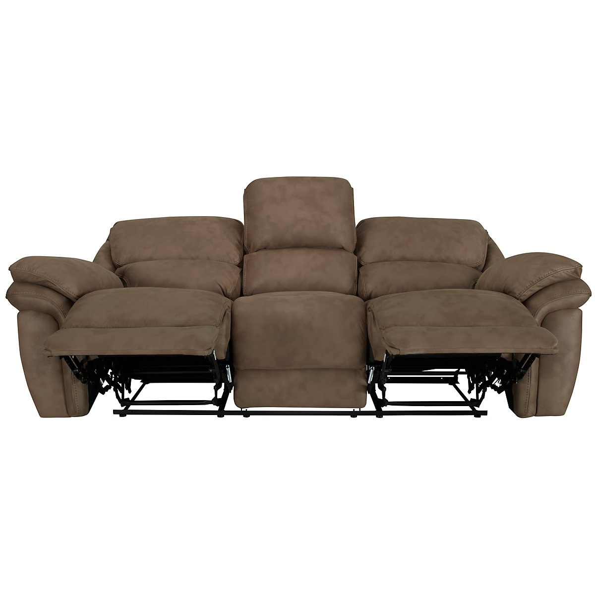 Kirsten Medium Brown Microfiber Reclining Sofa View Larger