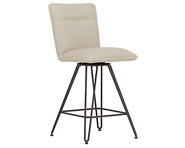 "Demi Taupe Upholstered 24"" Swivel Barstool"