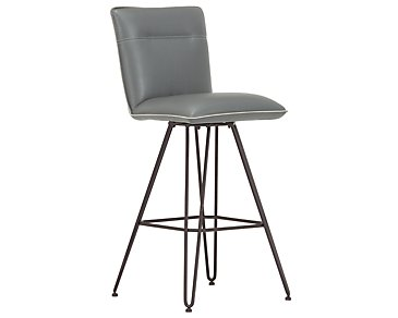 "Demi Dark Gray Upholstered 30"" Swivel Barstool"
