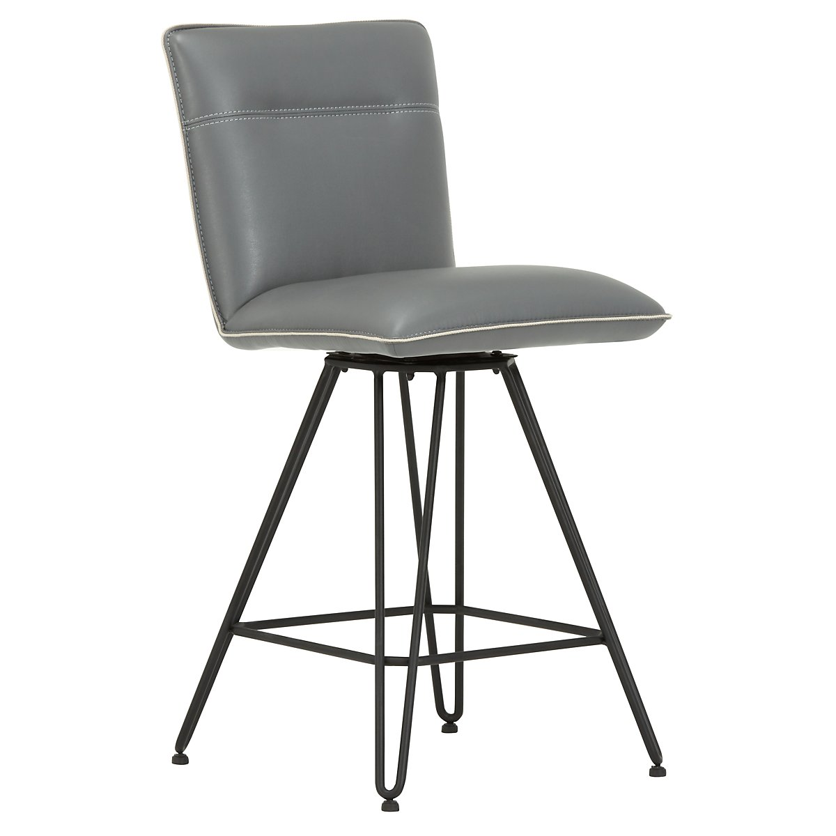 "Demi Dark Gray Upholstered 24"" Swivel Barstool"
