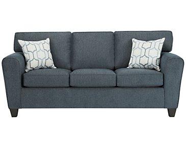 Zoey Dark Blue Microfiber Sofa
