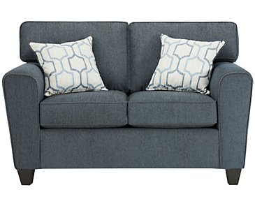 Zoey Dark Blue Microfiber Loveseat