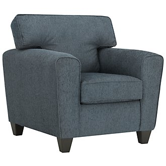 Zoey Dark Blue Microfiber Chair