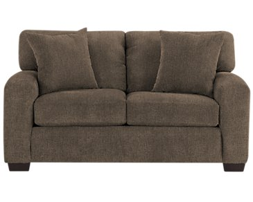 Adam Dark Brown Microfiber Loveseat