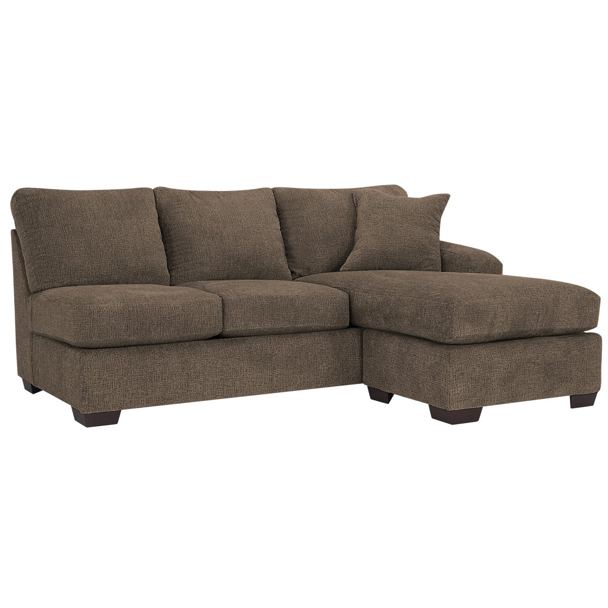 City furniture adam dark brown microfiber right chaise for Brown sectionals with chaise