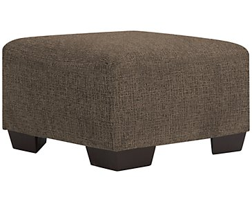 Adam Dark Brown Microfiber Cocktail Ottoman