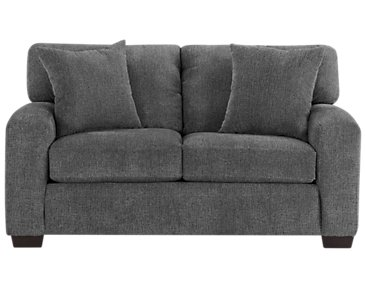 Adam Dark Gray Microfiber Loveseat