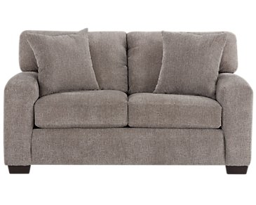 Adam Dark Taupe Microfiber Loveseat