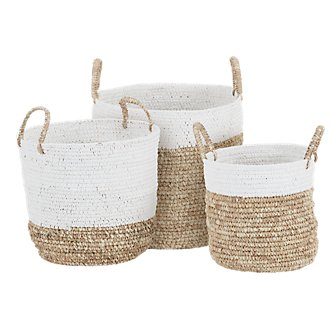 Raffia Woven Set Of 3 Basket