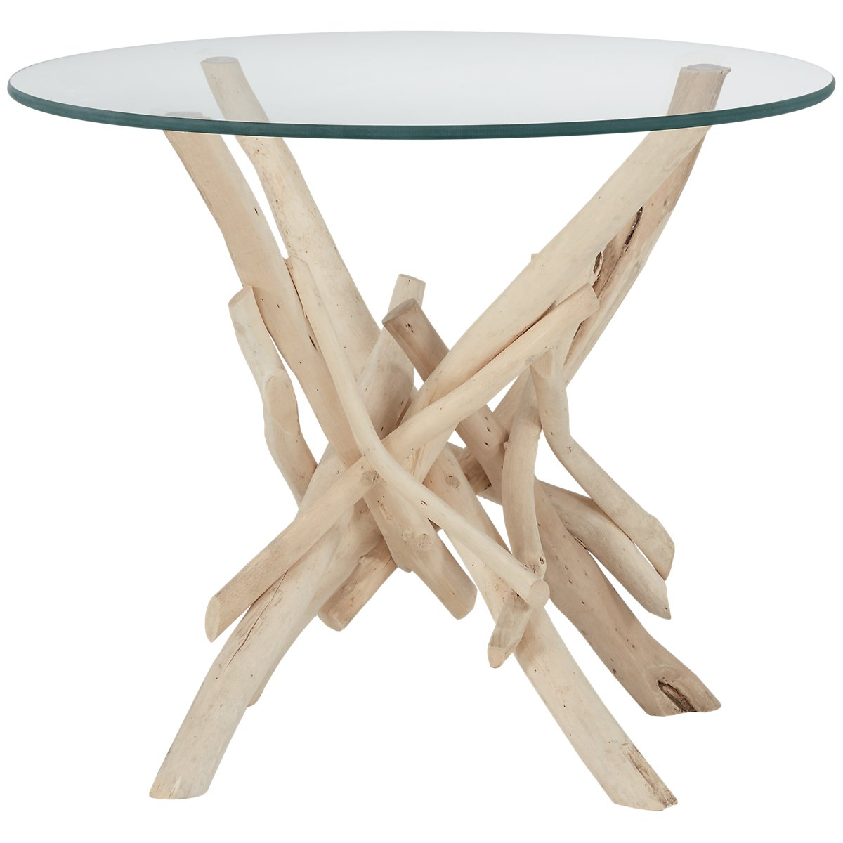 Driftwood Light Tone Glass Accent Table