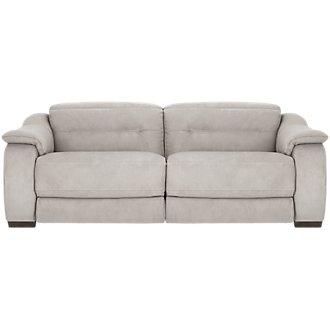 Kent Light Gray Microfiber Power Reclining Sofa
