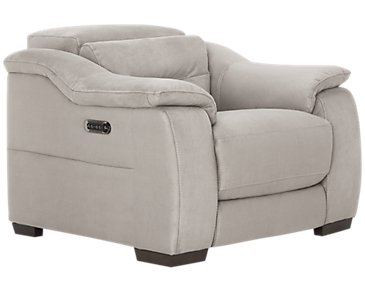 Kent Light Gray Microfiber Power Recliner
