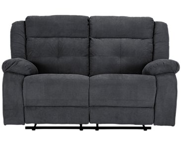 Pierce Dark Gray Microfiber Reclining Loveseat