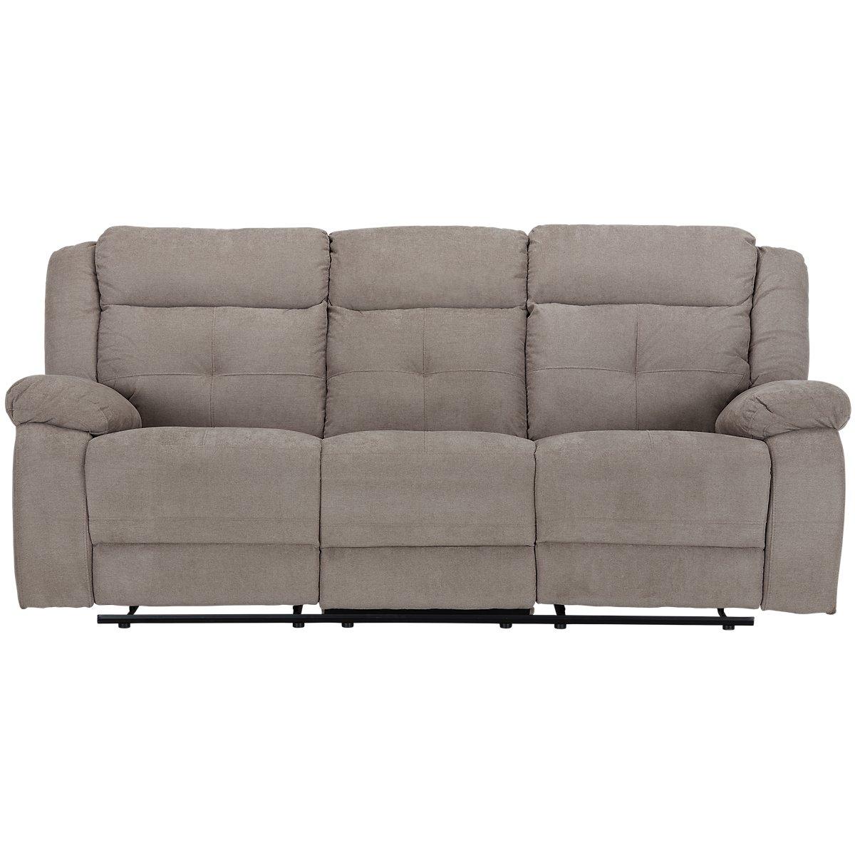 City Furniture Pierce Taupe Microfiber Reclining Sofa