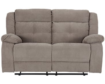 Pierce Taupe Microfiber Reclining Loveseat