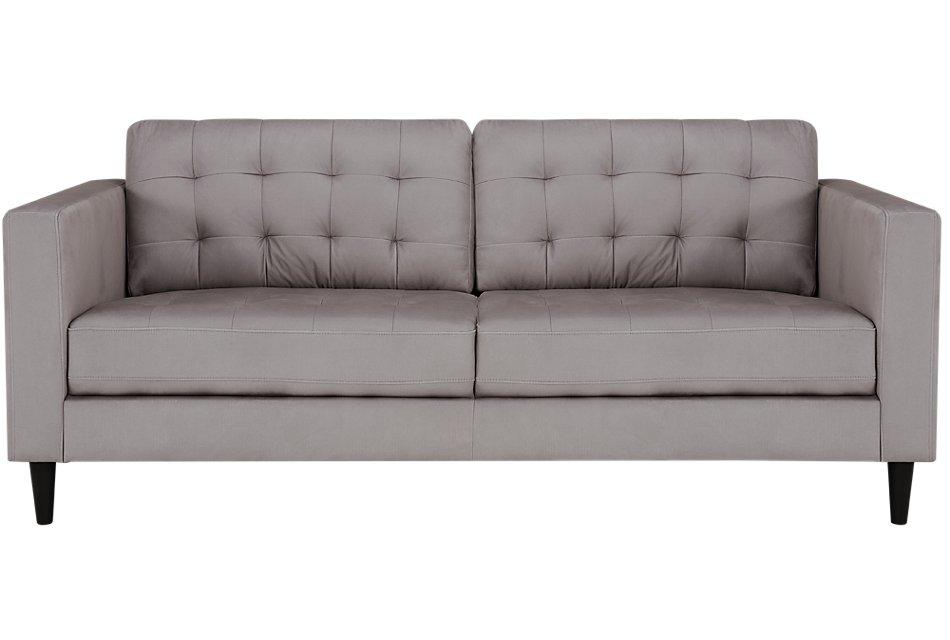 Shae Light Gray Microfiber Sofa | Living Room - Sofas | City ...